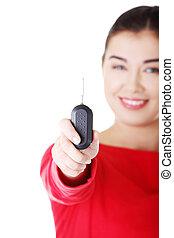 Happy woman with a car key.