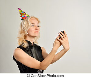 happy woman with a cell phone