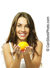 happy woman with a orange on white background