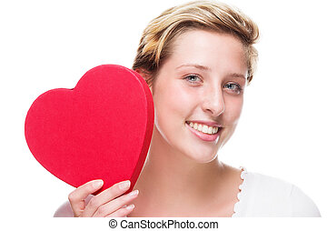 happy woman with a red heart
