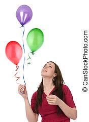 happy woman with balloons isolated over white