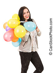 Happy woman with balloons on her shoulder