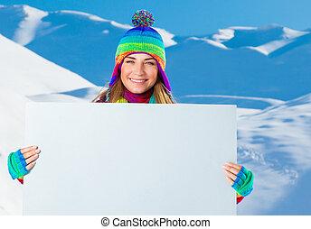 Happy woman with big postcard