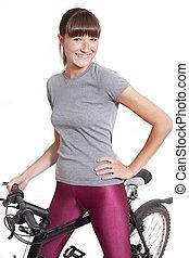 happy woman with bike