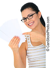 Happy Woman With Blank Cards
