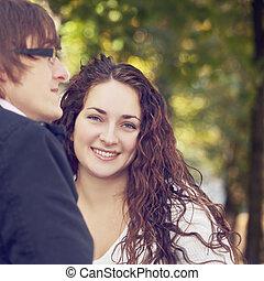Happy woman with boyfriend
