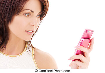 happy woman with cell phone - picture of woman with pink ...