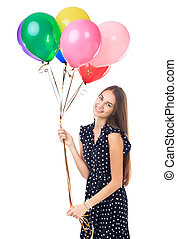 Happy woman with colorful balloons - Portrait of beautiful...