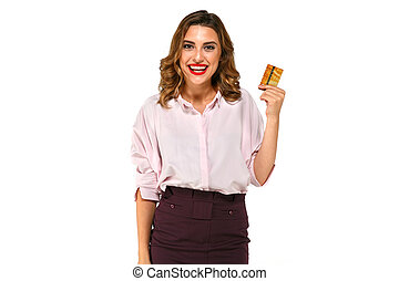 Happy woman with credit card in hand on white background