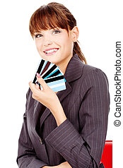 Happy woman with credit cards