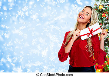 Happy woman with envelope.