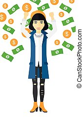 Happy woman with flying money. - An asian successful...