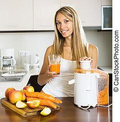 Happy woman with fresh juice