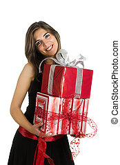 Happy woman with gifts - Happy woman isolated on a white ...