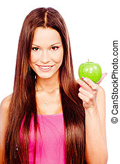 Happy woman with green apple