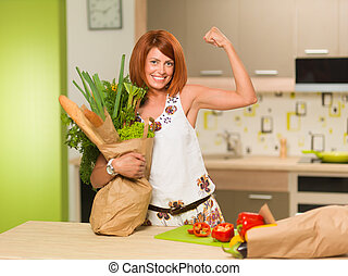 happy woman with grocery bag