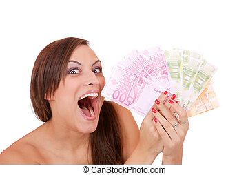 Happy woman with group of euro bills Isolated. - Happy woman...