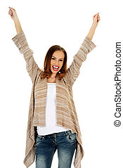 Happy woman with hands up.