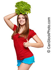 Happy woman with lettuce