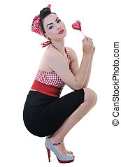happy woman with lollipop isolated on white - happy young...
