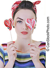 happy woman with lollipop isolated on white