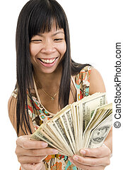 happy woman with lots of money - happy asian woman with a...