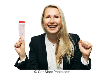 happy woman with lucky lottery ticket in hand isolated on white background