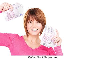 happy woman with money