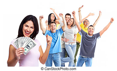 Happy woman with money. Winners people group.