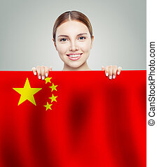 Happy woman with  People's Republic of China flag background