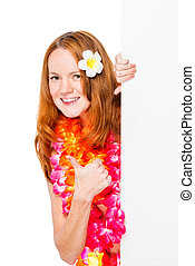 Happy woman with plumeria on hair with poster isolated
