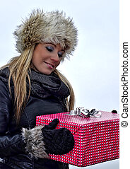 Happy woman with present