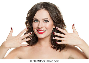 Happy woman with red nails manicure isolated