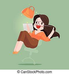 Happy Woman With Shopping Bag Enjoying in Online Shopping. Business Concept Cartoon Illustration