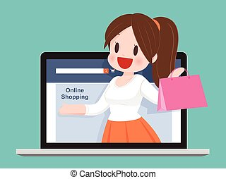 Happy Woman With Shopping Bag Enjoying in Online Shopping. Business Concept Cartoon Illustration.