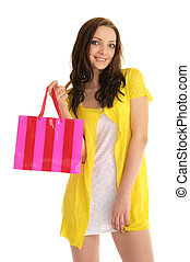 happy woman with shopping bag