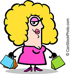 happy woman with shopping bags cartoon