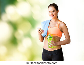 happy woman with smartphone and bottle of water
