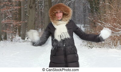 happy woman with snow
