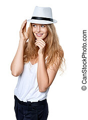 Happy woman with straw hat