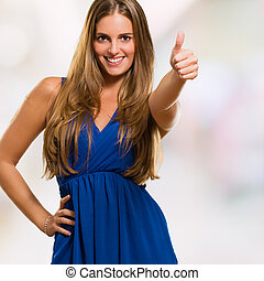 Happy Woman With Thumbs-up