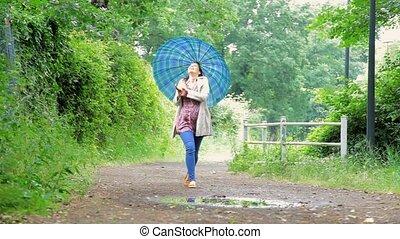 Happy woman with umbrella walking