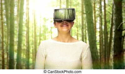 happy woman with vr headset in virtual woods