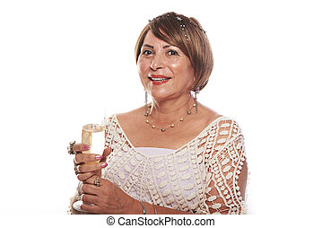 happy woman with wine glass