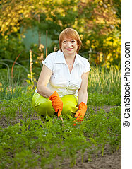 Happy  woman working in  vegetable garden