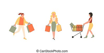 Happy women characters with shopping. Woman with bags and with shopping basket. Big season Sale in shop. Flat style vector illustration isolated on white background.