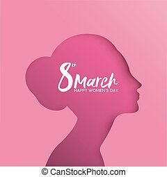 Happy Women Day 8 March pink girl cutout greeting card