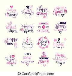 Happy Women Day Badges Set Creative Pink Lettering Calligraphy Collection On White Background