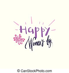 Happy Women Day Card Background Hand Drawn Badge Calligraphy Holiday Sticker