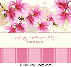 Happy women day flowers card Vector. Watercolor delicate floral template. Lovely greeting vintage splash backgrounds